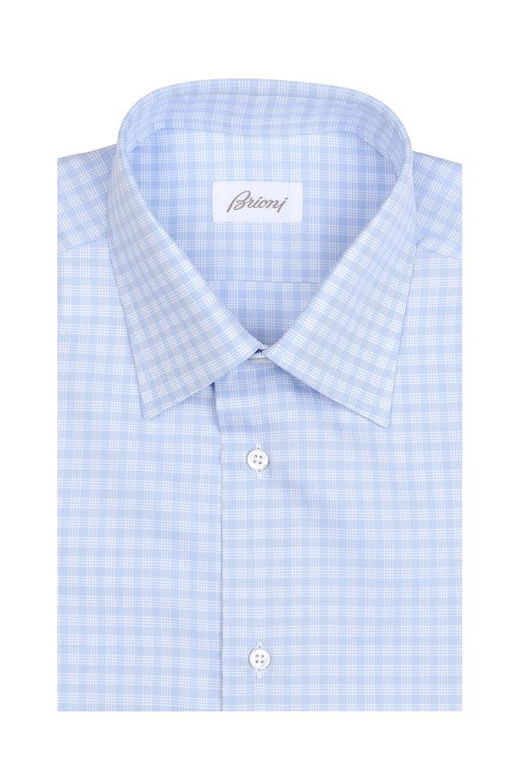 Brioni Light Blue Check Dress Shirt