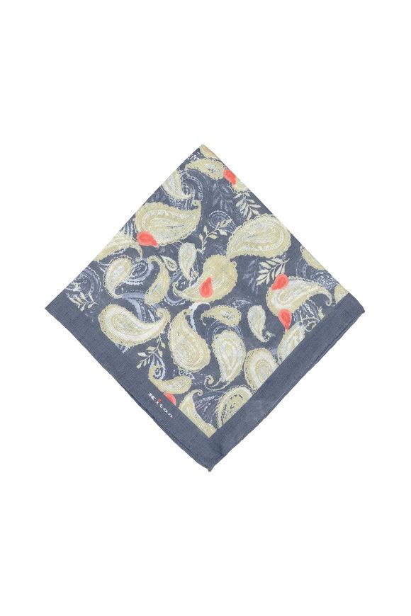 Kiton Blue & Tan Paisley Linen Pocket Square