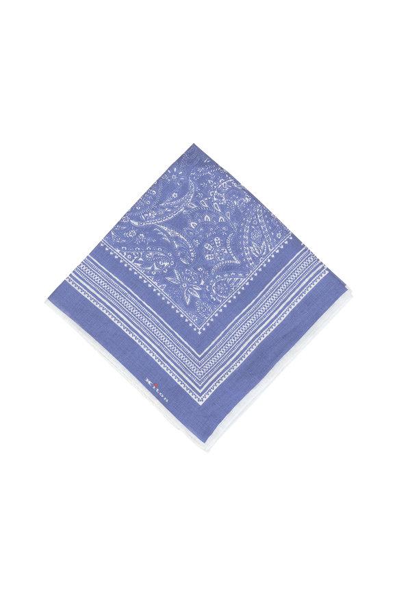 Kiton Medium Blue Paisley Linen Pocket Square