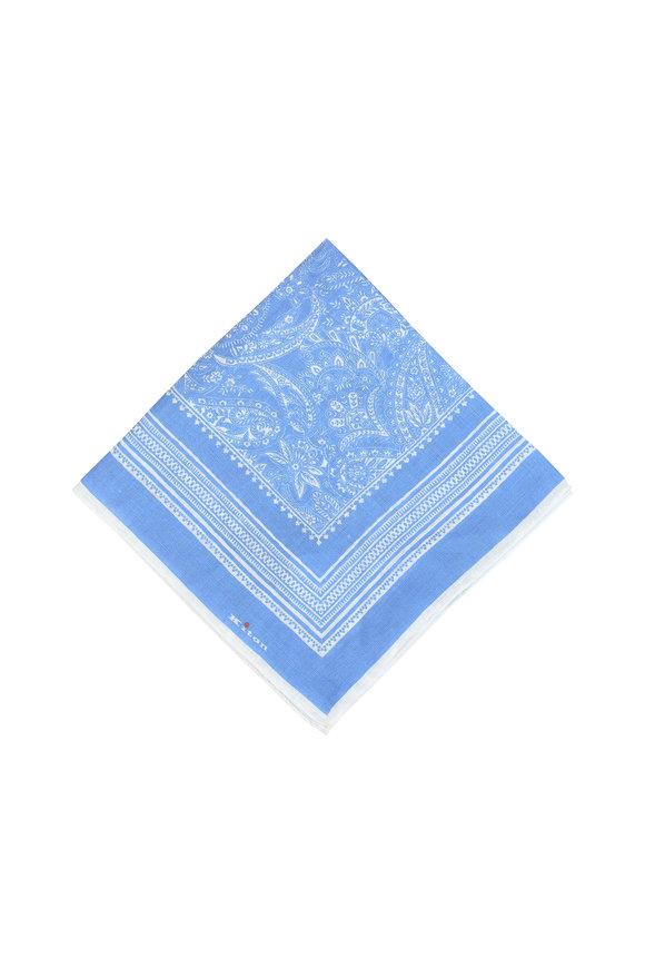 Kiton Light Blue Paisley Linen Pocket Square