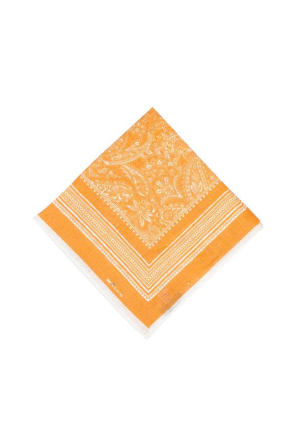 Kiton Orange Paisley Linen Pocket Square