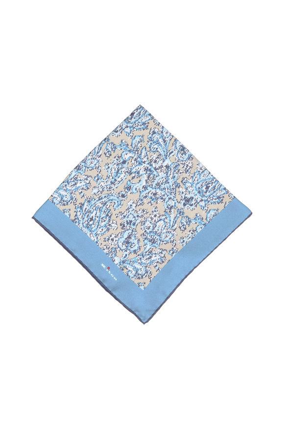 Kiton Tan & Teal Paisley Silk Pocket Square