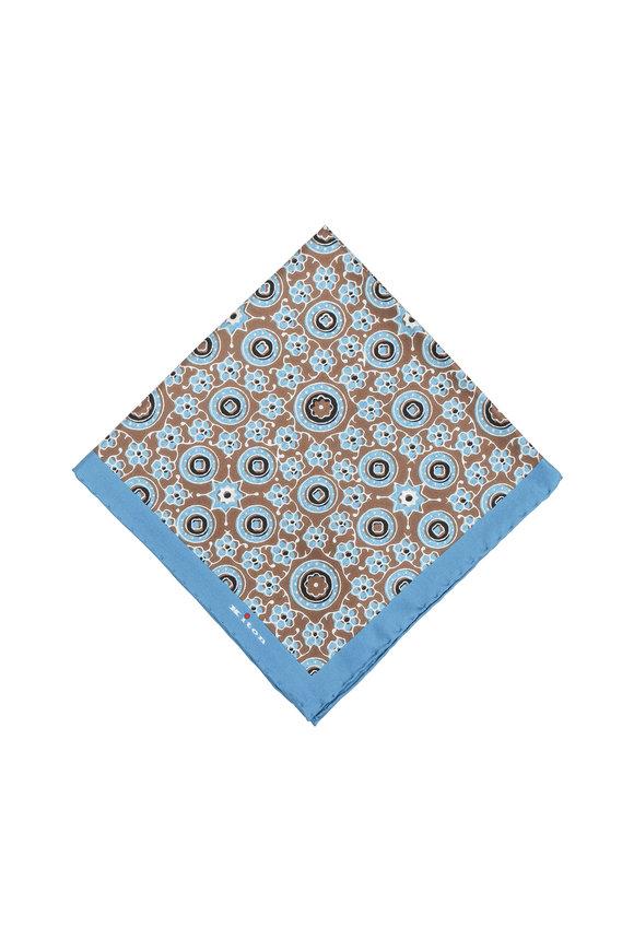 Kiton Brown & Blue Geometric Circle Silk Pocket Square