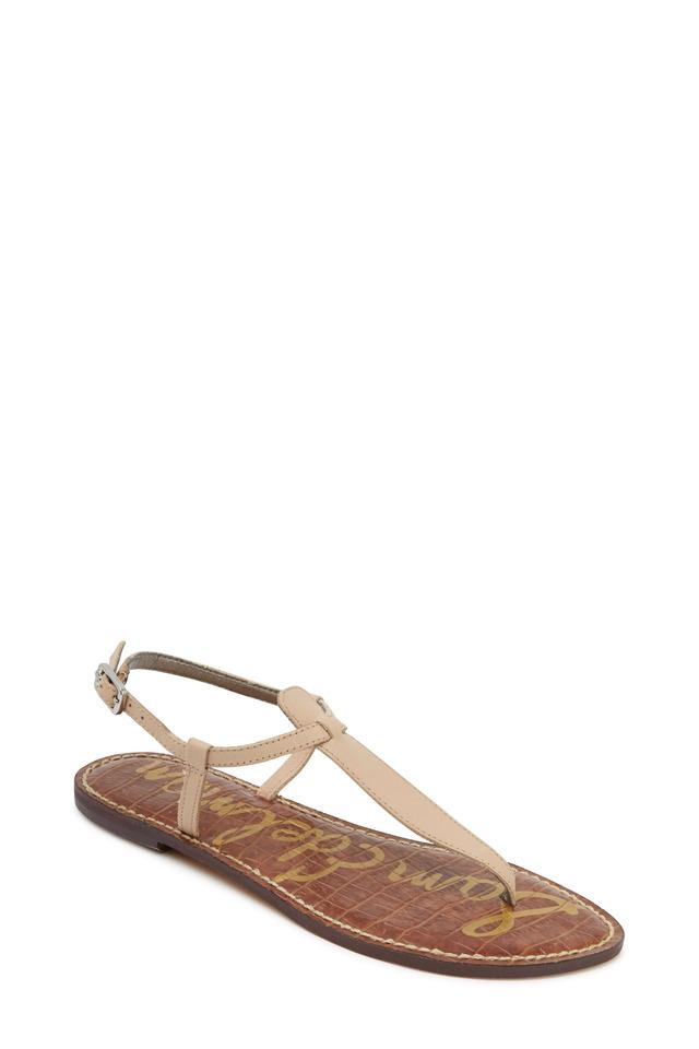 Gigi Nude Leather Flat Thong Sandals
