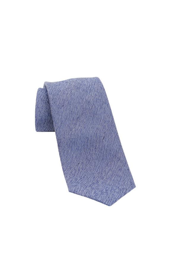 Brioni Medium Blue Textured Silk, Linen & Cotton Necktie