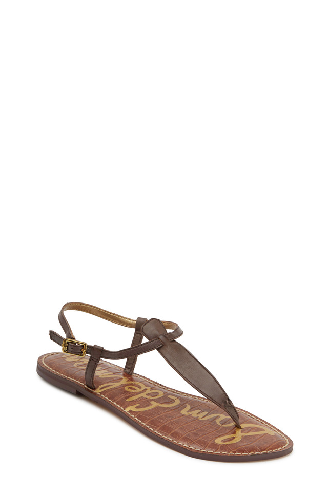 Gigi Espresso Leather Flat Thong Sandals
