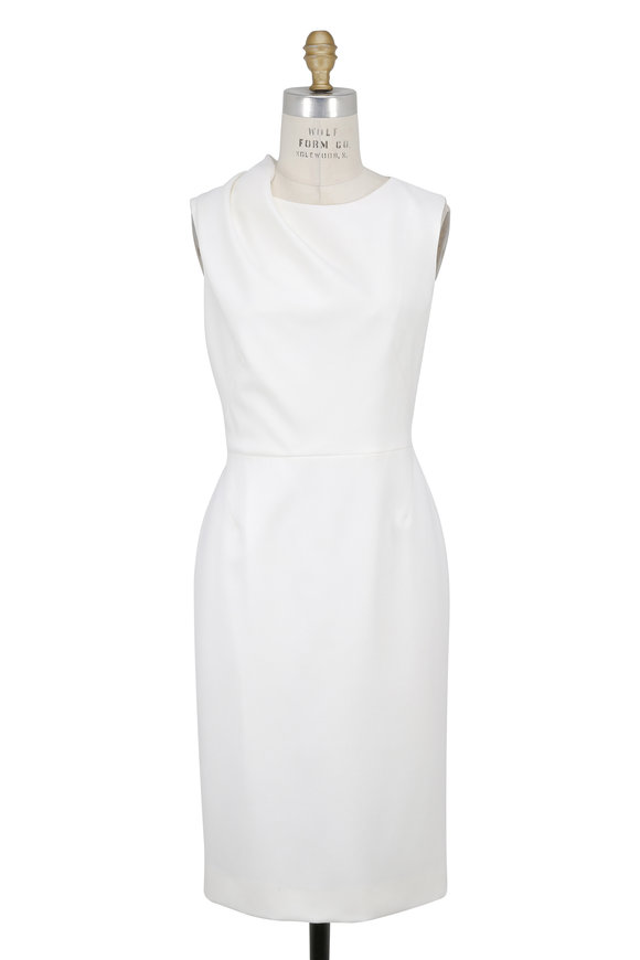 Paule Ka Winter White Draped Shoulder Sleeveless Dress