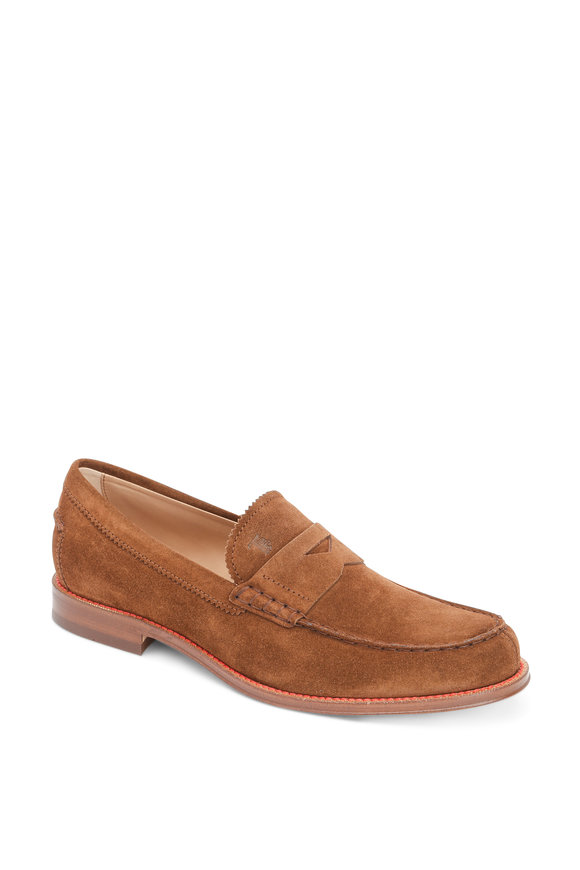 Tod's Ro Medium Brown Suede Penny Loafer