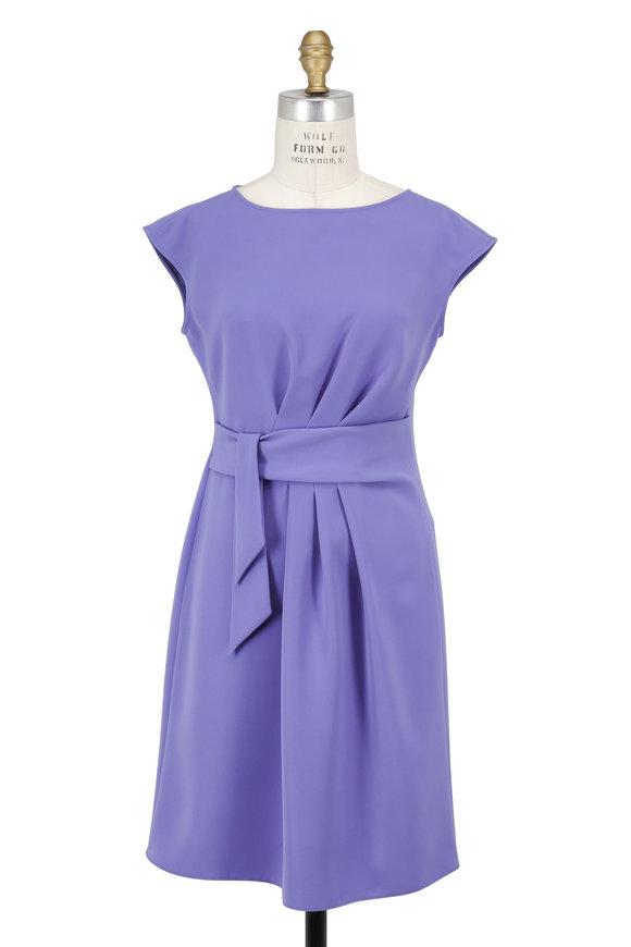 Armani Collezioni Lilac Tie Waist Cap Sleeve Dress