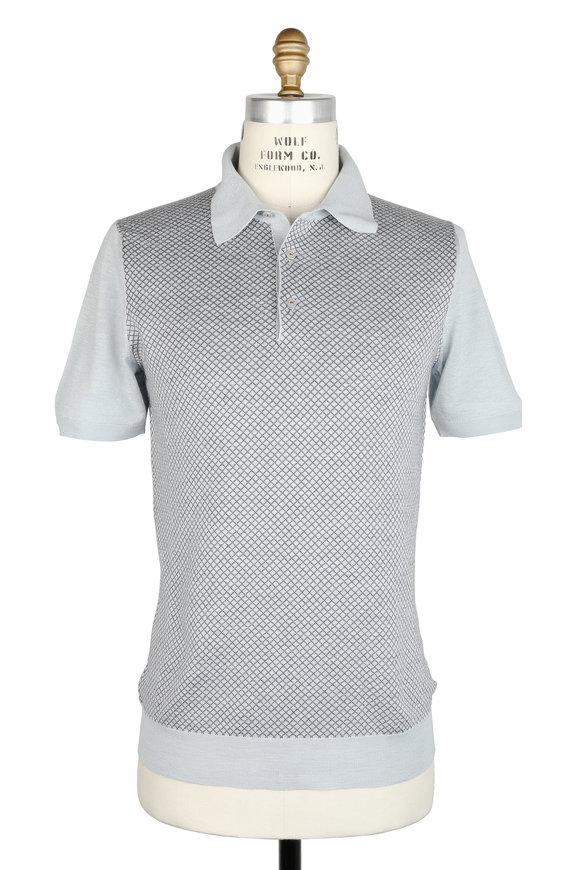 Kiton Light Gray Silk & Linen Polo