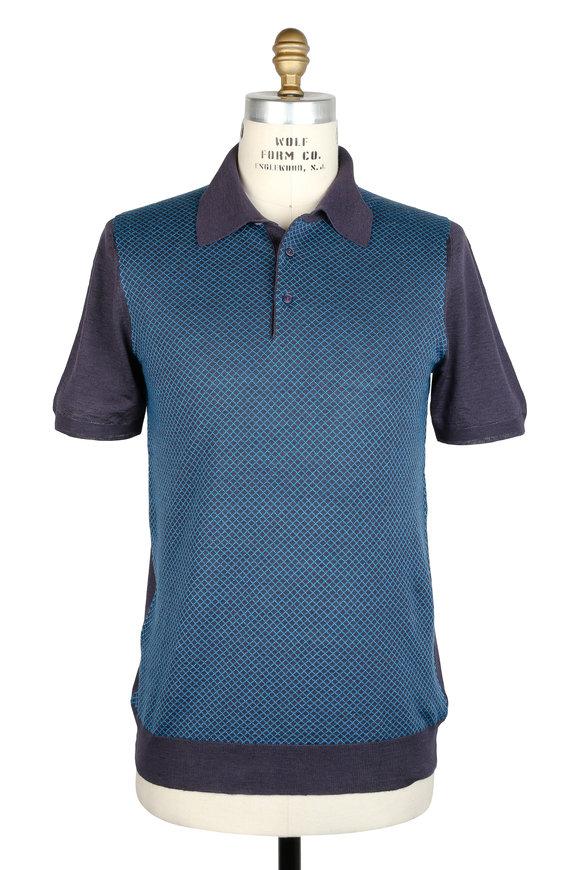 Kiton Blue Printed Front Silk & Linen Polo