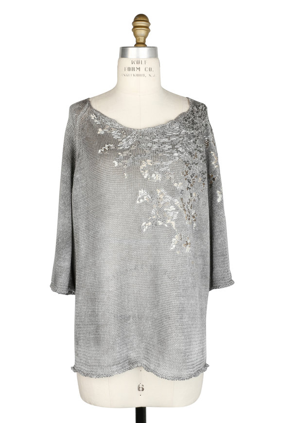 Avant Toi Gray Embroidered Linen Sweater