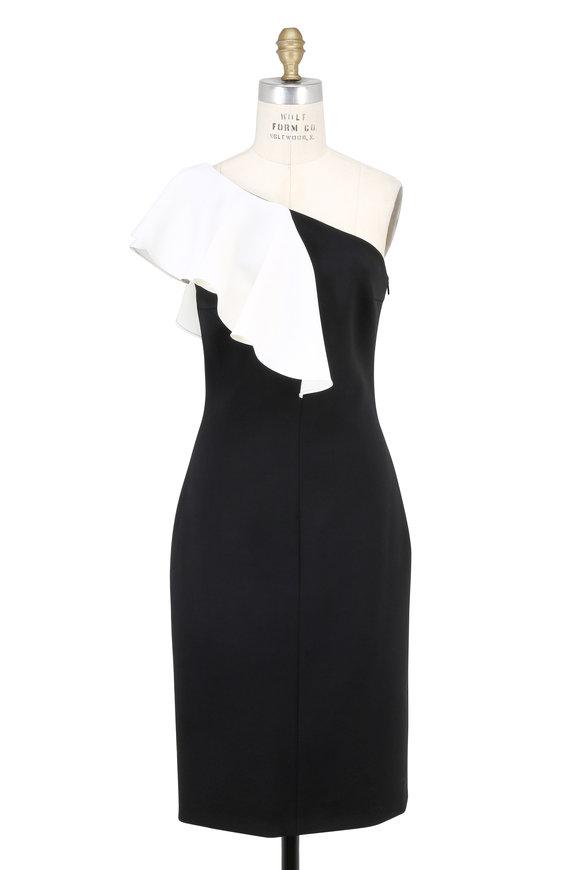 Saint Laurent Black & Ivory One Ruffle Shoulder Dress