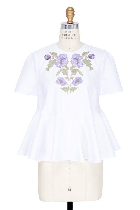 Alexander McQueen White Cotton Embroidered Floral Short Sleeve Top