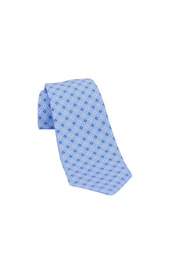 Kiton Blue Floral Silk Necktie