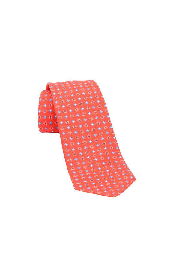 Kiton Red & Blue Medallion Silk Necktie