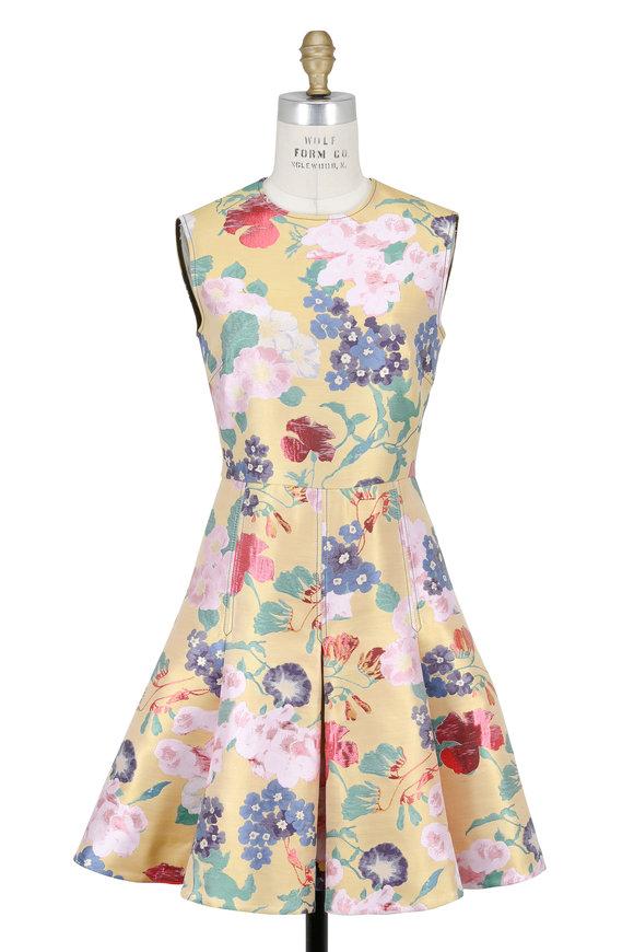 Valentino Yellow Floral Brocade Sleeveless Dress