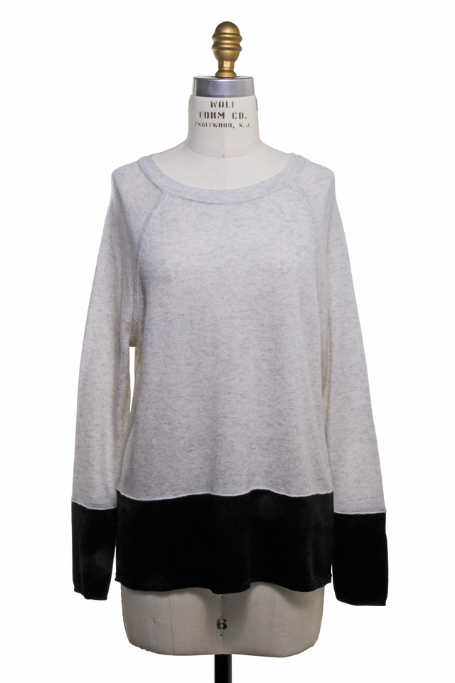 Gray & Black Cashmere Sweatshirt