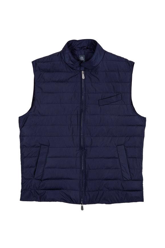 Eleventy Navy Blue Quilted Nylon Vest