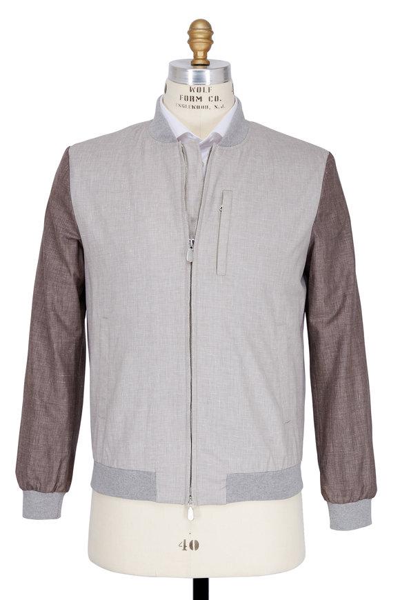 Eleventy Tan Linen & Wool Baseball Jacket