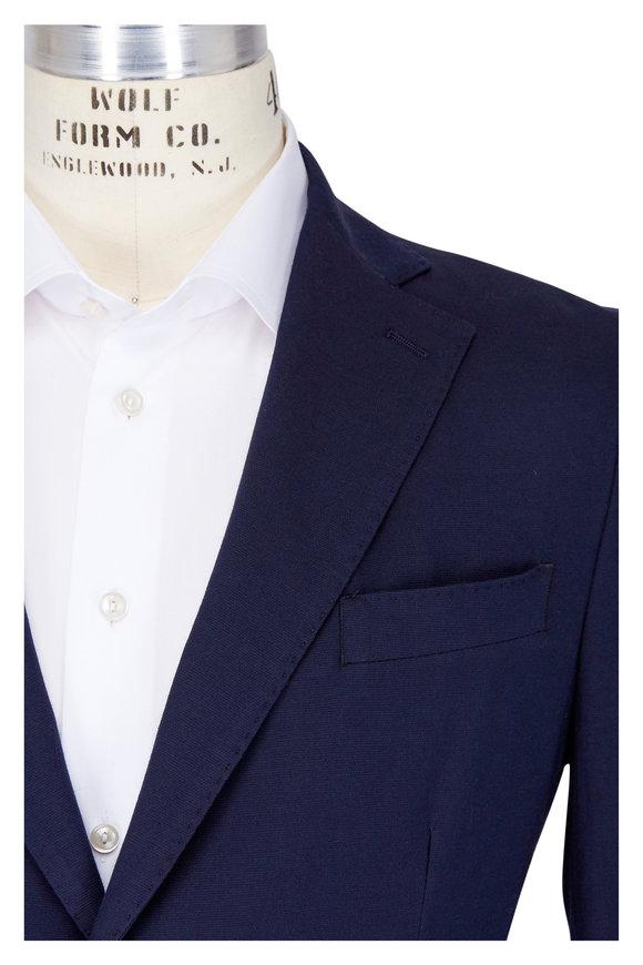 Eleventy Navy Blue Stretch Cotton Patch Pocket Jacket