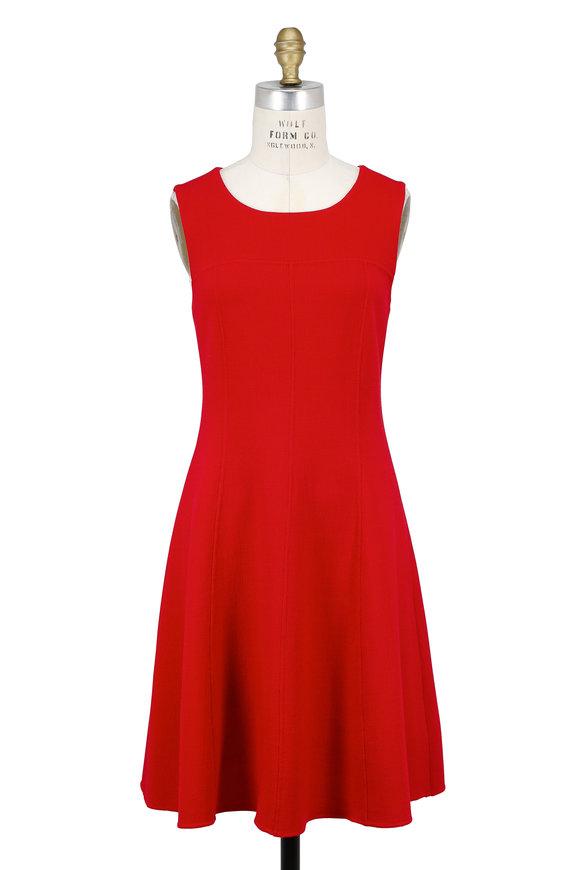 Armani Collezioni Solid Red Wool Sleeveless Dress