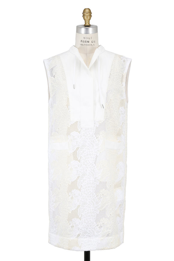 Sacai White Embroidered Sleeveless Shift Dress