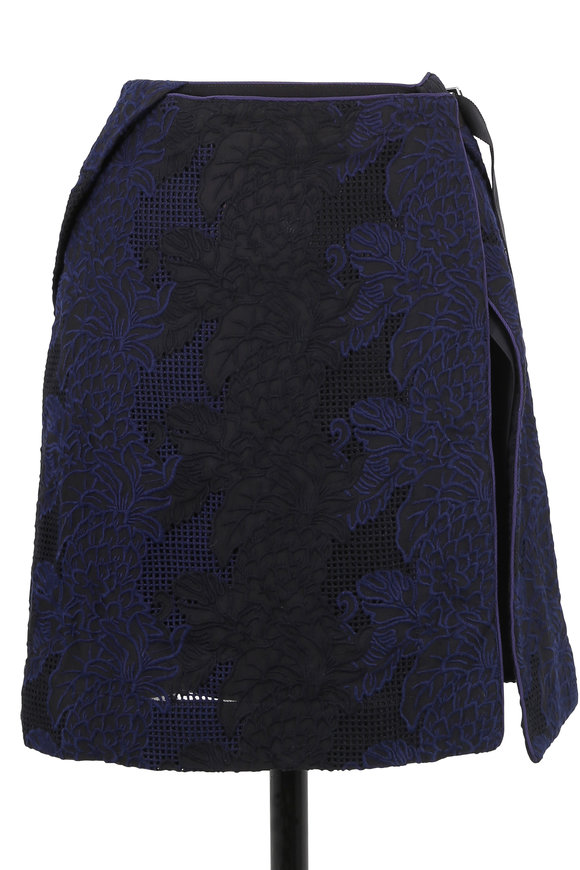 Sacai Blue & Black Embroidered Wrap Skirt