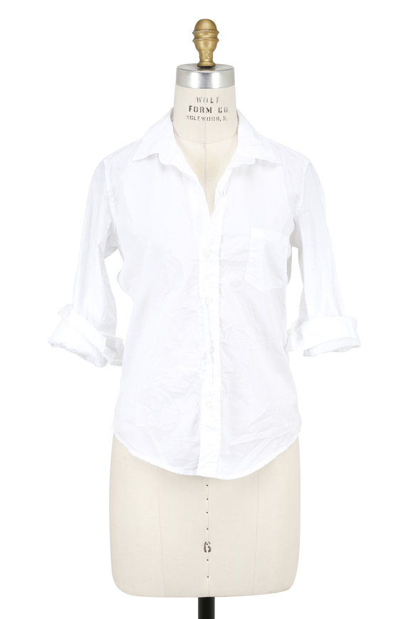 Frank & Eileen Barry White Crinkled Cotton Button Down