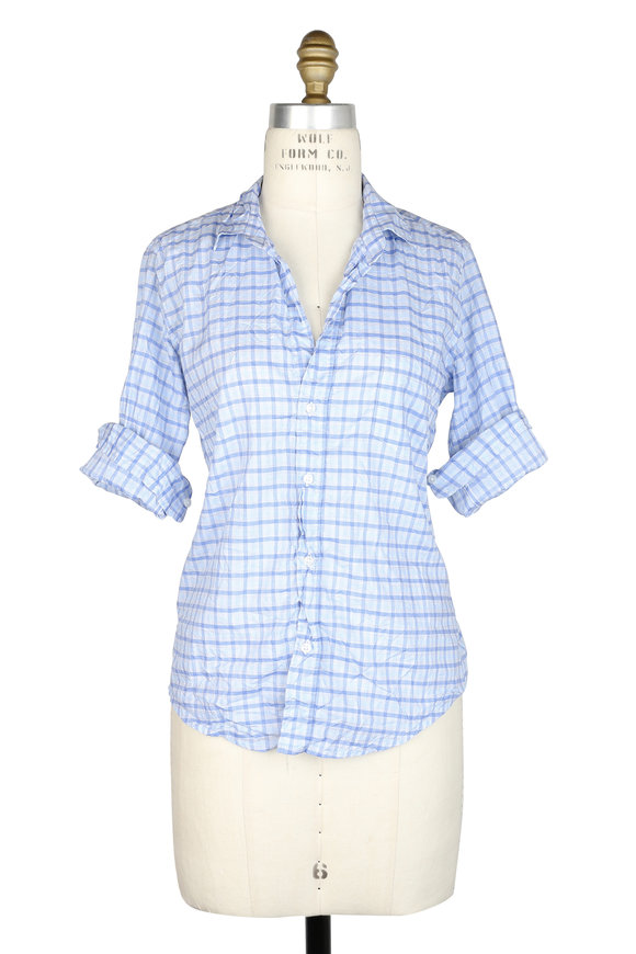 Frank & Eileen Barry Blue Large Check Button Down