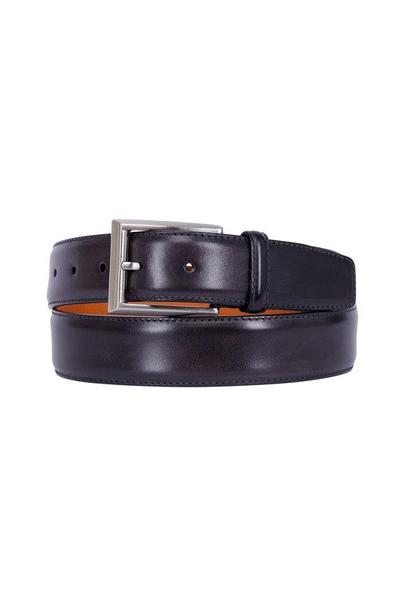 Magnanni Black Smooth Leather Belt