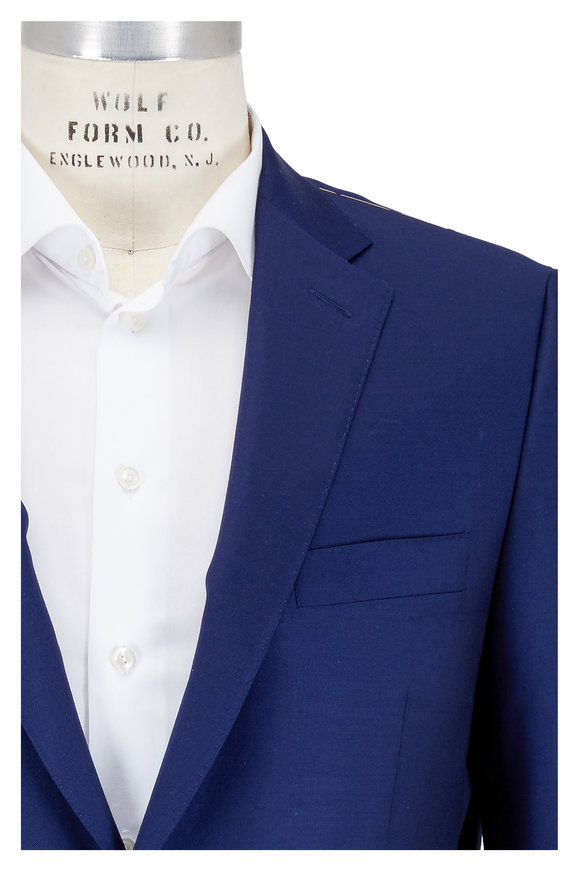 Hickey Freeman Solid Bright Blue Wool Suit
