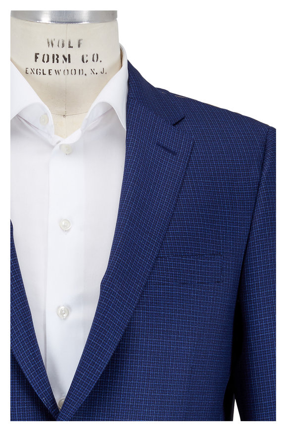 Hickey Freeman Blue Small Check Wool Traveller Sportcoat