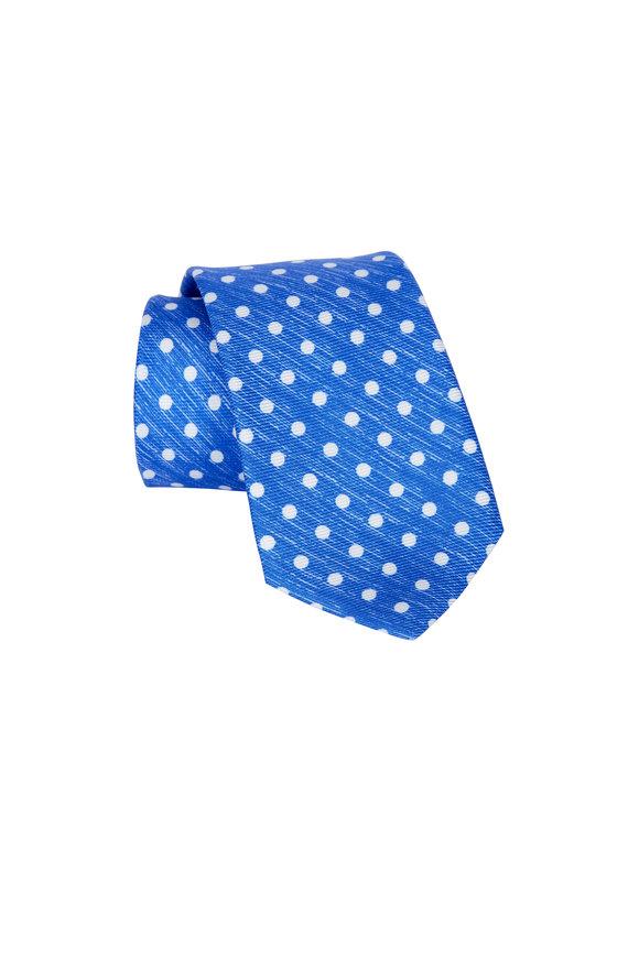 Kiton Bright Blue Polka Dot Necktie