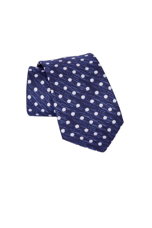 Kiton Navy Blue Polka Dot Necktie