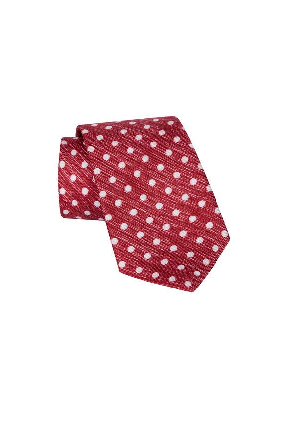 Kiton Red Polka Dot Silk Necktie