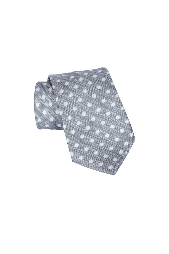 Kiton Grey Polka Dot Silk Necktie