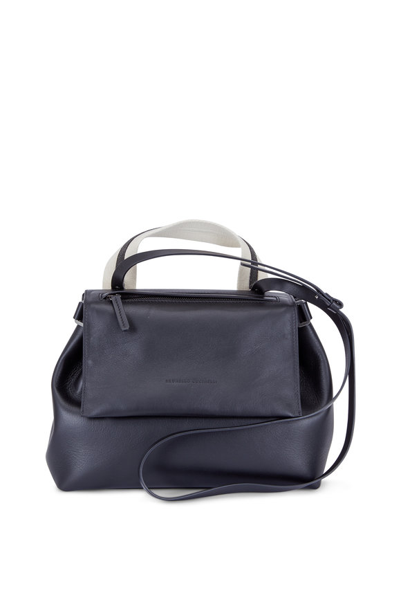 Brunello Cucinelli Black Leather Monili Detail Top Handle Bag