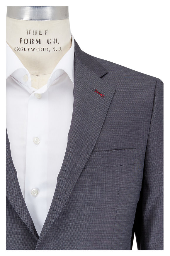 Samuelsohn Charcoal Gray Patterned Wool Suit