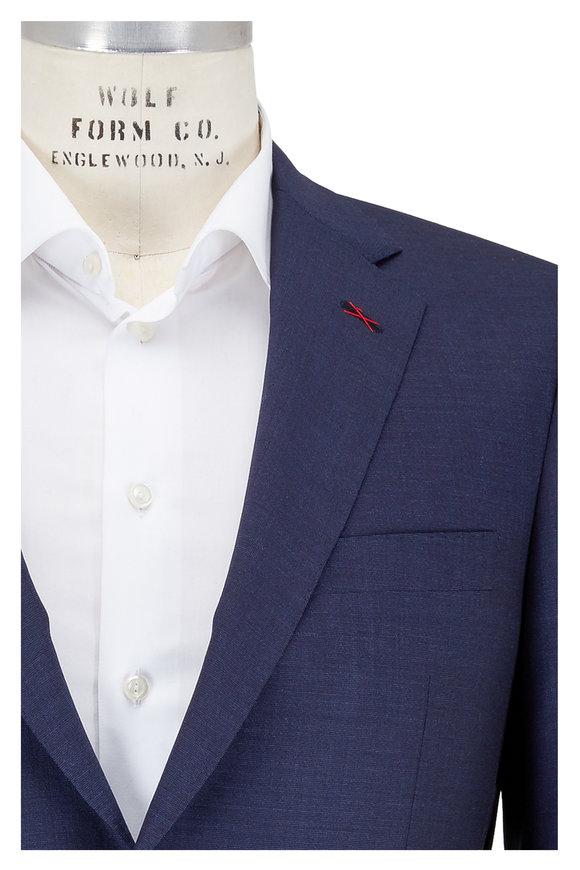 Samuelsohn Solid Navy Blue Wool Suit