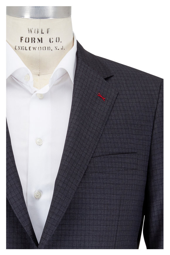 Samuelsohn Charcoal Gray Tonal Check Wool Suit