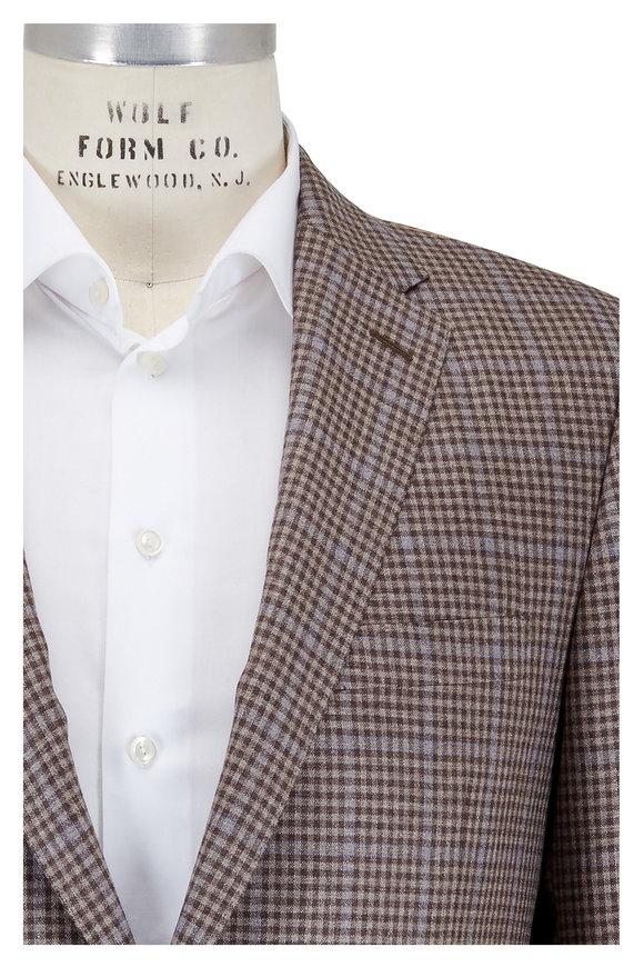 Hickey Freeman Dark Tan Check Silk & Cashmere Sportcoat