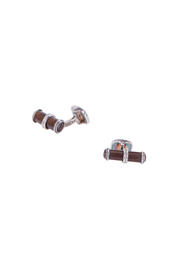Hobbs & Kent Walnut Oval Cuff Links