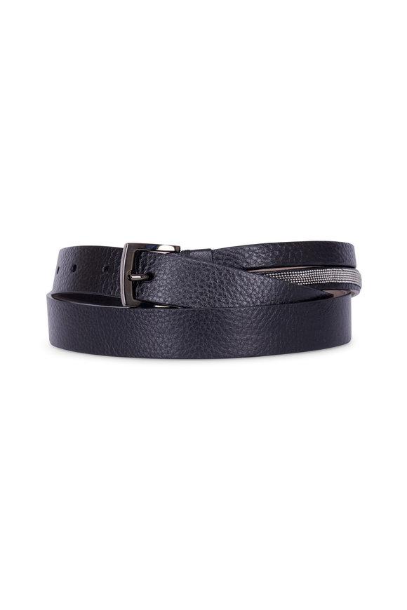 Brunello Cucinelli Black Pebbled Leather Monili Belt