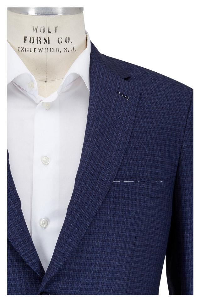 Navy Mini Plaid Wool Sportcoat