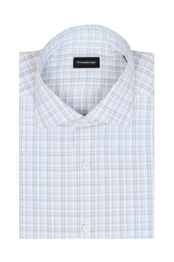 Ermenegildo Zegna Blue, Green & White Plaid Classic Fit Sport Shirt