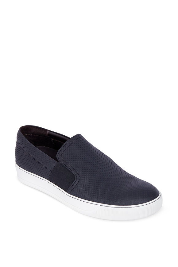 Lanvin Black Perforated Leather Slip-On Sneaker
