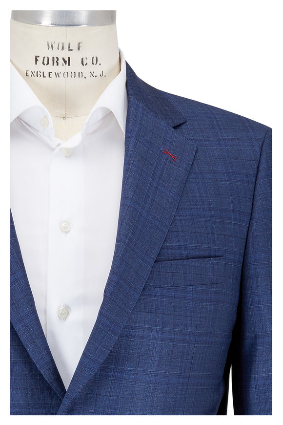 Samuelsohn Medium Blue Tonal Plaid Wool Suit