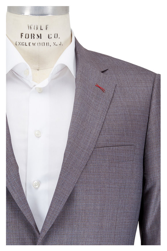 Samuelsohn Brown & Blue Check Wool & Silk Suit