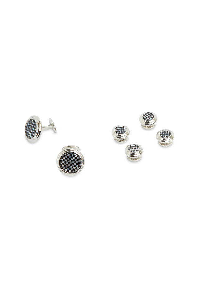 Sterling Silver Onyx & Mother-Of-Pearl Stud Set